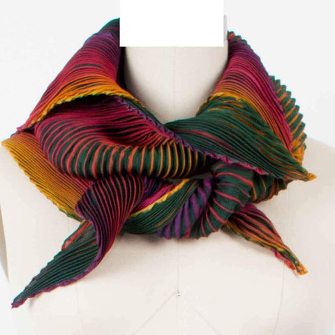 Cathayana Shibori Silk Zigzag Scarf in Evergreen Purple and Orange Artistic Designer Hand Dyed and Pleated Silk Scarf