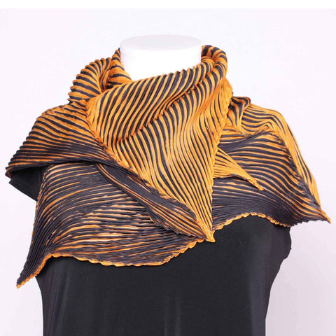 Cathayana Shibori Silk Zigzag Scarf in Gold and Black Artistic Designer Hand Dyed and Pleated Silk Scarf