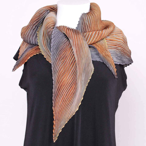 Cathayana Shibori Silk Zigzag Scarf in Gray and Brown Artistic Designer Hand Dyed and Pleated Silk Scarf
