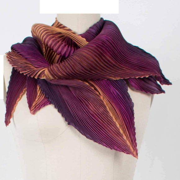 Cathayana Shibori Silk Zigzag Scarf in Jam and Peach Artistic Designer Hand Dyed Pleated Silk Scarf