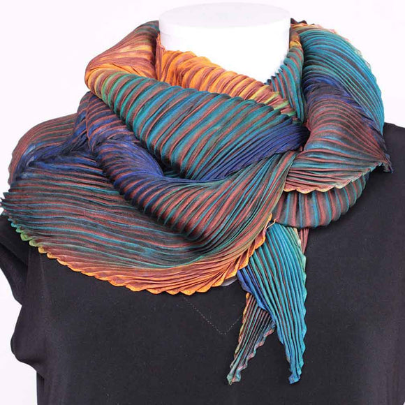 Cathayana Shibori Silk Zigzag Scarf in Orange and Teal Artistic Designer Pleated and Hand Dyed Silk Scarf