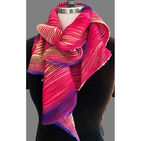 Cathayana Shibori Silk Zigzag Scarf in Pink and Purple Artistic Designer Pleated and Hand Dyed Silk Scarf