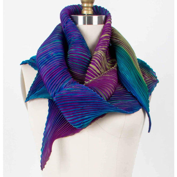 Cathayana Shibori Silk Zigzag Scarf in Purple and Teal Lime Artistic Designer Hand Dyed and Pleated Silk Scarf