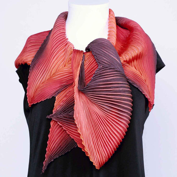 Cathayana Shibori Silk Zigzag Scarf in Red Artistic Designer Hand Dyed and Pleated Silk Scarf