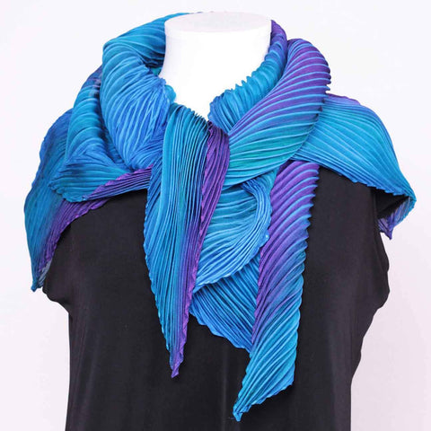 Cathayana Shibori Silk Zigzag Scarf in Turquoise and Purple Artistic Designer Hand Dyed and Pleated Silk Scarf