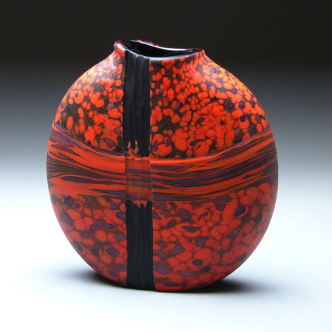 Convergence Series in Obsidian Trace Handblown Glass Vase by Thomas Spake Studios Artisan Handblown Art Glass Vases