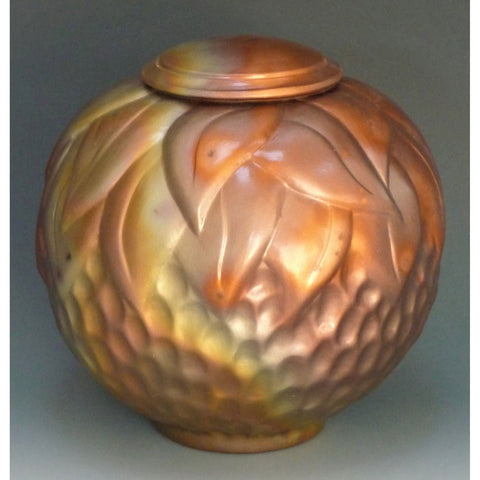 Cosmic Clay Studio Floral Urn Number 11 Sawdust Fired Handmade Pottery