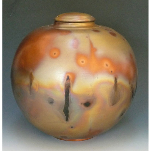 Cosmic Clay Studio Large Covered Orb Jar Number 22 Sawdust Fired Handmade Pottery