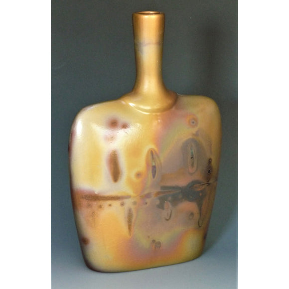 Short Flat Bottle Number 15 Sawdust Fired Pottery by Cosmic Clay Studio