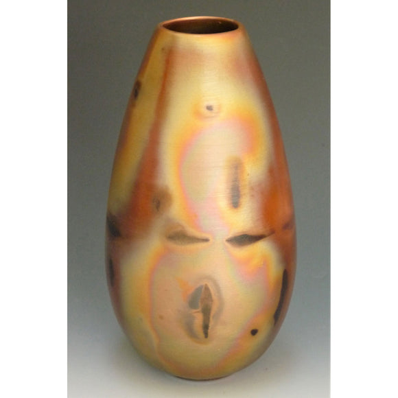 Cosmic Clay Studio Small Tear Drop Vase Number 5 Sawdust Fired Handmade Pottery