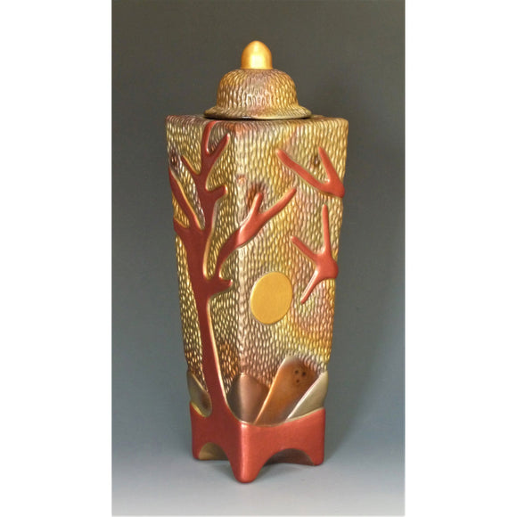 Cosmic Clay Studio Sunrise Red Tree of Life Covered Urn Number 25 Sawdust Fired Handmade Pottery