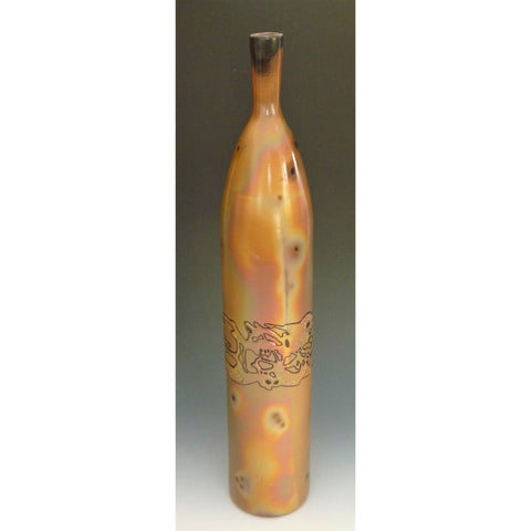 Cosmic Clay Studio Tall Bottle Vase Number 3 Sawdust Fired Handmade Pottery