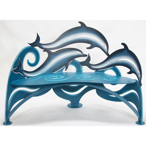 Cricket Forge Dolphin Bench, Artistic Functional Outdoor-Indoor Metal Furniture