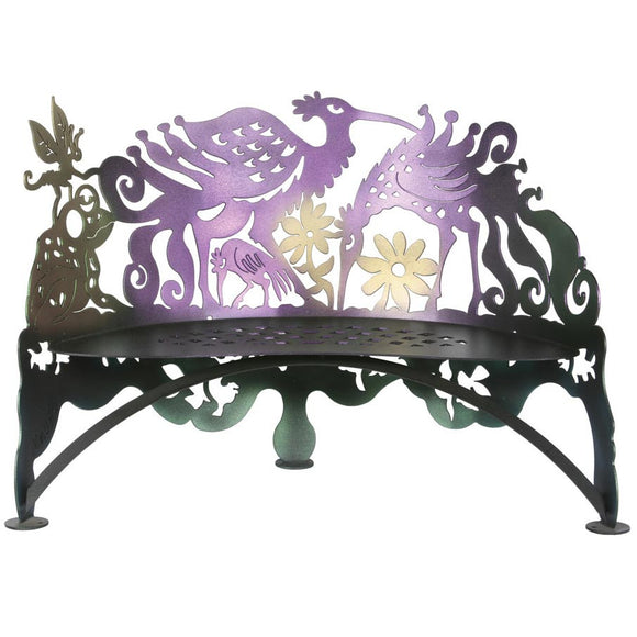 Cricket Forge Don Drumm Bird Bench, Artistic Functional Outdoor-Indoor Metal Furniture