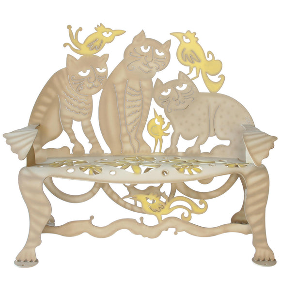 Cricket Forge Don Drumm Cat Bench, Artistic Functional Outdoor-Indoor Metal Furniture