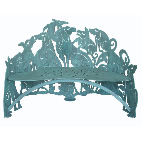 Cricket Forge Don Drumm Dog Bench, Artistic Functional Outdoor-Indoor Metal Furniture