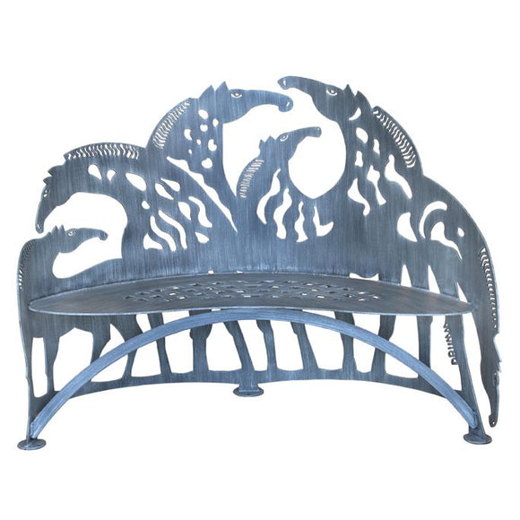 Cricket Forge Don Drumm Horse Bench, Artistic Functional Outdoor-Indoor Metal Furniture