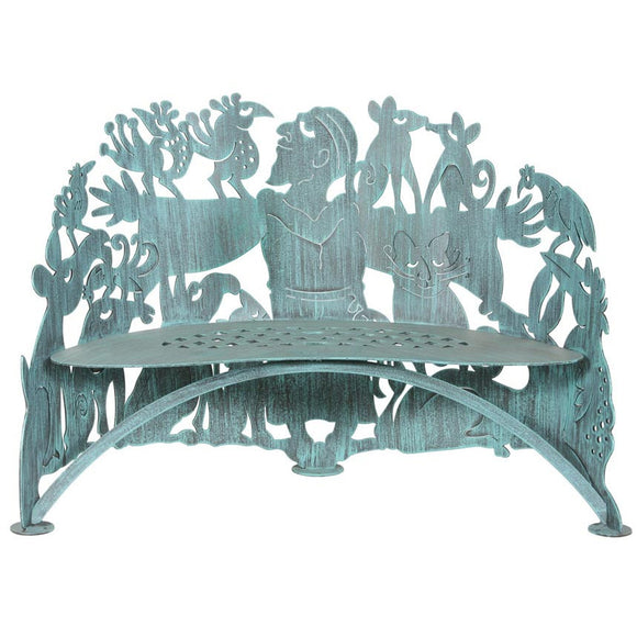 Cricket Forge Don Drumm St. Francis Bench, Artistic Functional Outdoor-Indoor Metal Furniture