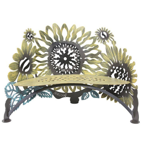 Cricket Forge Don Drumm Sunflower Bench, Artistic Functional Outdoor-Indoor Metal Furniture