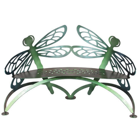 Cricket Forge Dragonfly Bench, Artistic Functional Outdoor-Indoor Metal Furniture