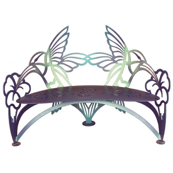 Cricket Forge Hummingbird Bench, Artistic Functional Outdoor-Indoor Metal Furniture