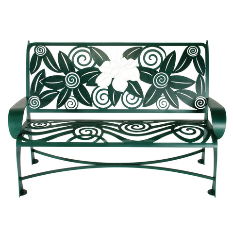Cricket Forge Magnolia Bench, Artistic Functional Outdoor-Indoor Metal Furniture