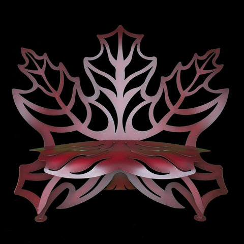 Cricket Forge Maple Leaf Bench, Artistic Functional Outdoor-Indoor Metal Furniture
