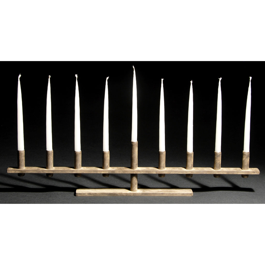 David M. Bowman Studio Airplane Menorah Show in Grey, Artistic Artisan Designer Patinaed Brass Menorahs