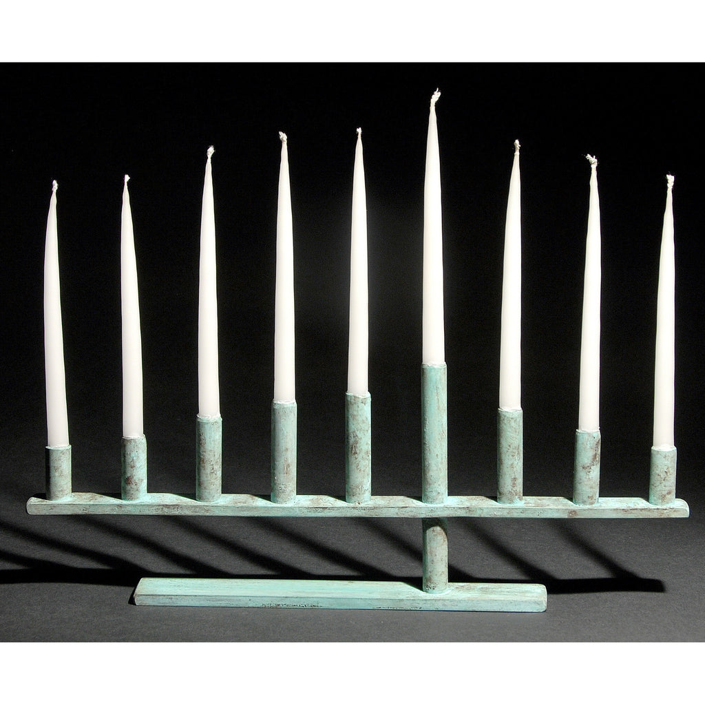Cantilever Menorah shown in blue green