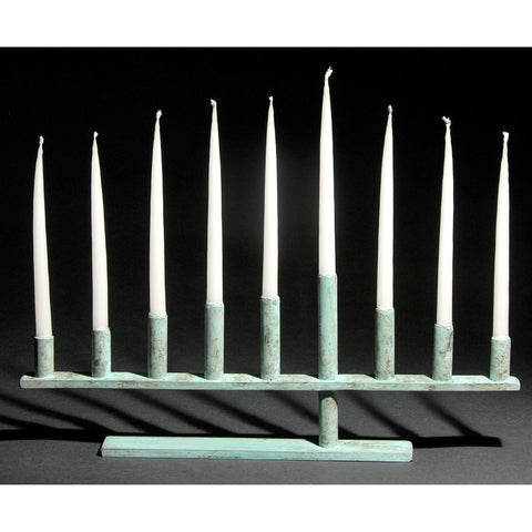 Cantilever Menorah Shown in Blue Green by David Bowman Studio