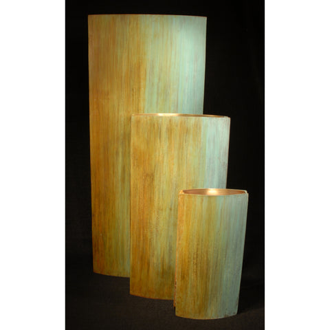 Slab Vases Shown in Blue Green to Ochre Fade by David Bowman Studio