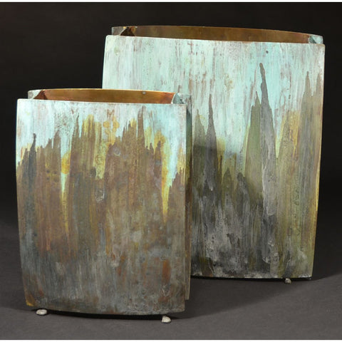 Square Vase Shown in Tri Color 2 by David Bowman Studio