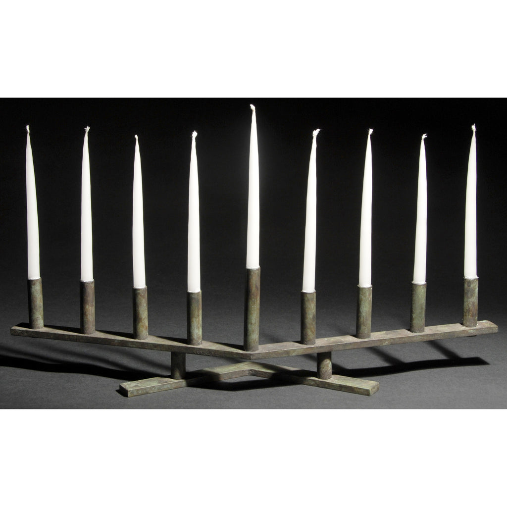 David M. Bowman Studio Vee Menorah Shown in Dark Green, Artistic Artisan Designer Patinaed Brass Menorahs