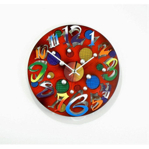 David Scherer Mini Disk Red Wall Clock Artistic Artisan Crafted Designer Clocks.