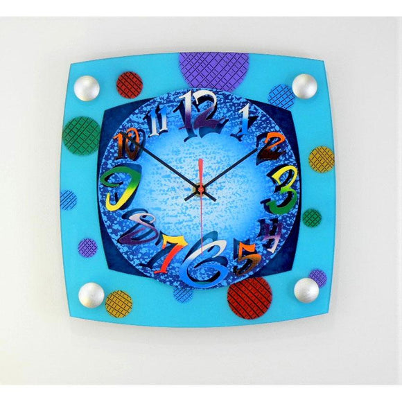 David Scherer TV Mod Aqua Wall Clock Artistic Artisan Crafted Designer Clocks
