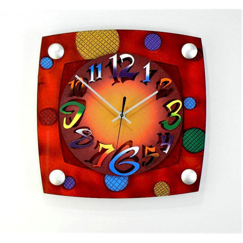 David Scherer TV Mod Red Wall Clock Artistic Artisan Crafted Designer Clocks