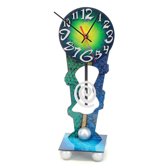 David Scherer Table Clock The Blue Artistic Artisan Designer Handmade Clocks