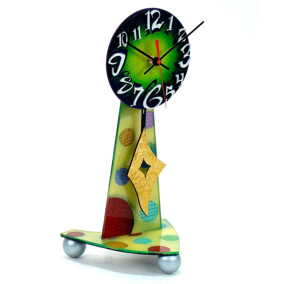 David Scherer Table Top Green Artistic Artisan Designer Handmade Clocks