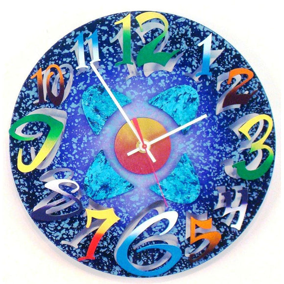 David Scherer Wall Clock Mod Disk Purple Artistic Artisan Designer Handmade Clocks