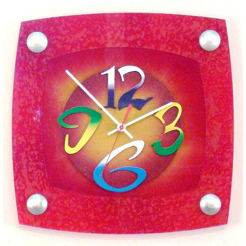 David Scherer Wall Clock TV Red Artistic Artisan Designer Handmade Clocks