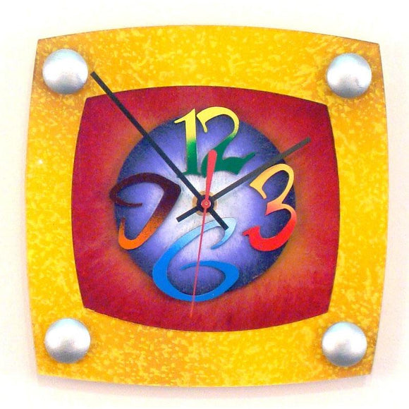 David Scherer Wall Clock TV Yellow Artistic Artisan Designer Handmade Clocks