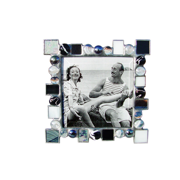 Diane Markin Dot Dash Black and White Photo Frame DD-BKW, Artistic Artisan Designer Photo Frames