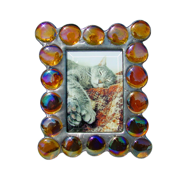 Diane Markin Fat Boy Iridescent Amber Photo Frame FB-IA, Artistic Artisan Designer Photo Frames