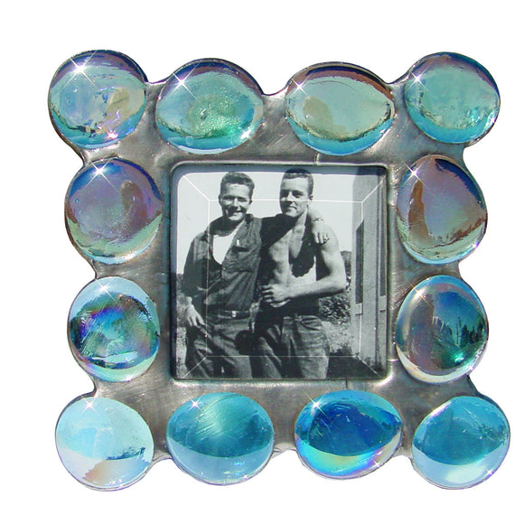 Diane Markin Fat Boy Iridescent Blue Photo Frame FB-IB, Artistic Artisan Designer Photo Frames