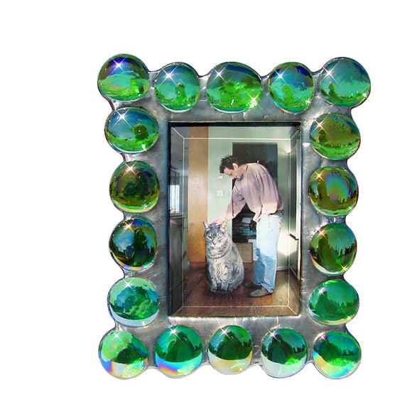 Diane Markin Fat Boy Iridescent Green Photo Frame FB-IG, Artistic Artisan Designer Photo Frames