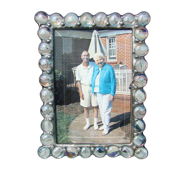 Diane Markin Jewel Cats Eye White Photo Frame JB-CW, Artistic Artisan Designer Photo Frames