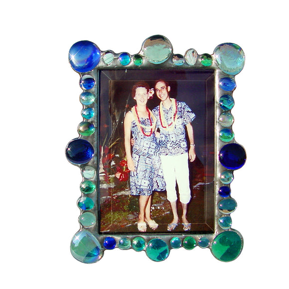 Diane Markin New Jewel Blue Photo Frame NJ-B, Artistic Artisan Designer Photo Frames