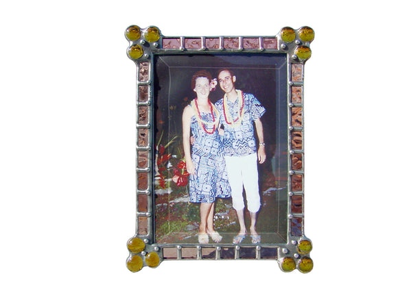 Diane Markin Patchwork Rose-Amber Photo Frame P-R-A, Artistic Artisan Designer Photo Frames