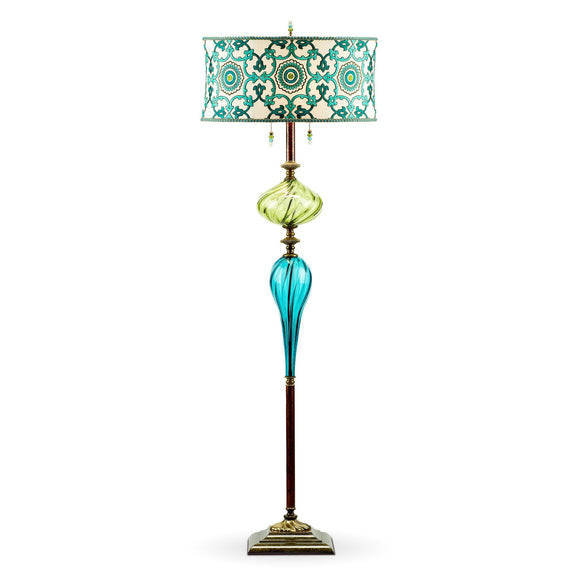 Kinzig Design Ed Floor Lamp F141Ag177 Colors Turquoise Lime Green Blue and Cream Blown Glass, Silk Shade, Artistic Artisan Designer Floor Lamps