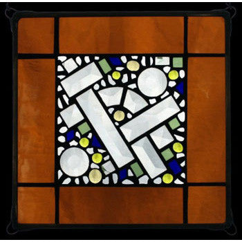 Edel Byrne Amber Antique Border Geometric Stained Glass Panel, Artistic Artisan Designer Stain Glass Window Panels